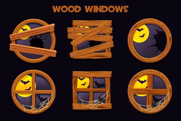 Inny Kształt I Stare Roztrzaskane Drewniane Okna, Rysunkowe Obiekty Z Pajęczynami I Pełnią Księżyca. Element Wnętrza Domu Premium Wektorów