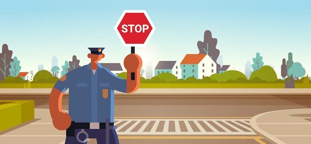 Inspektor Policji Gospodarstwa Znak Stop Policjant W Mundurze Bezpieczeństwa Organ Ruchu Drogowego Bezpieczeństwa Przepisów Bezpieczeństwa Usługi Koncepcja Portret Premium Wektorów