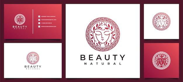 Inspiracja Do Projektowania Logo Beauty Women Z Wizytówką Do Pielęgnacji Skóry, Salonów I Spa, Z Kombinacją Liści Premium Wektorów