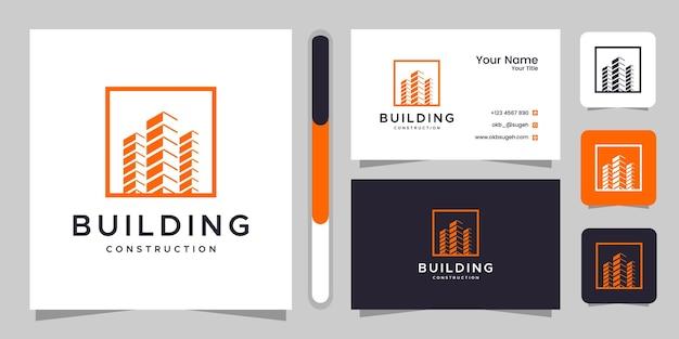 Inspiracja Do Projektowania Logo Budowy Budynku I Wizytówki. Premium Wektorów