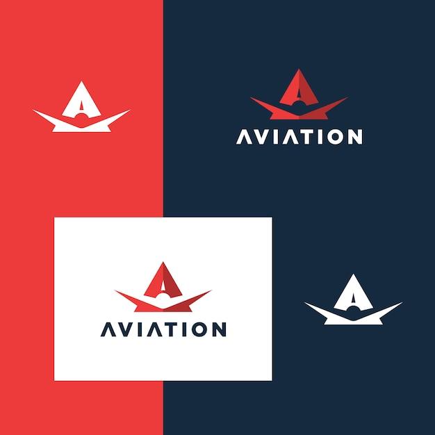 Inspiracja do projektowania logo lotnictwa lotniczego Premium Wektorów