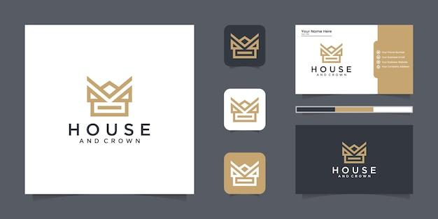 Inspiracja Logo Crown House Ze Stylem Linii I Inspiracją Do Wizytówek Premium Wektorów