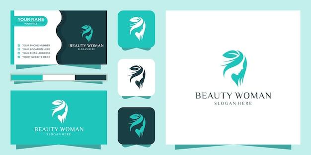 Inspiracja Logo Piękna Kobiet Premium Wektorów