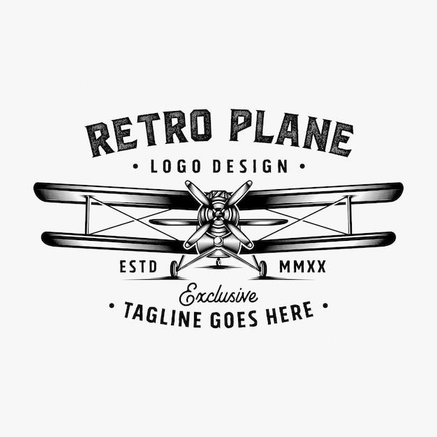 Inspiracja projekt retro logo samolotu Premium Wektorów