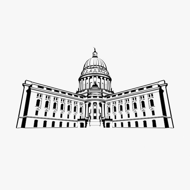 Inspiracja projektu logo capitol dome Premium Wektorów