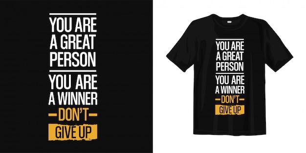 Inspirujące Cytaty Typografii Projekt Koszulki Premium Wektorów