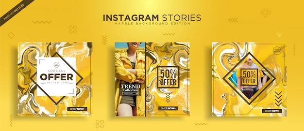 Instagram Post Szablon Z Abstrakcyjną Teksturą Marmuru Premium Wektorów