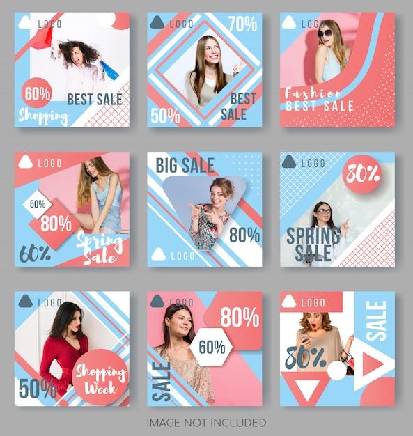 Instagram post templates w blue i coral palette Premium Wektorów
