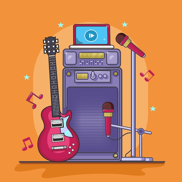 Instrument Muzyczny, Gitara, Mikrofon I Dźwięk Z Laptopa Premium Wektorów