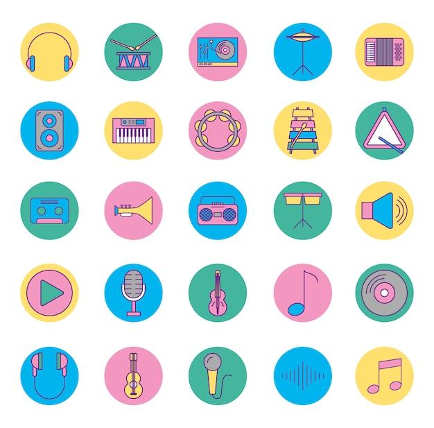 Instrumenty muzyczne i zestaw ikon Darmowych Wektorów