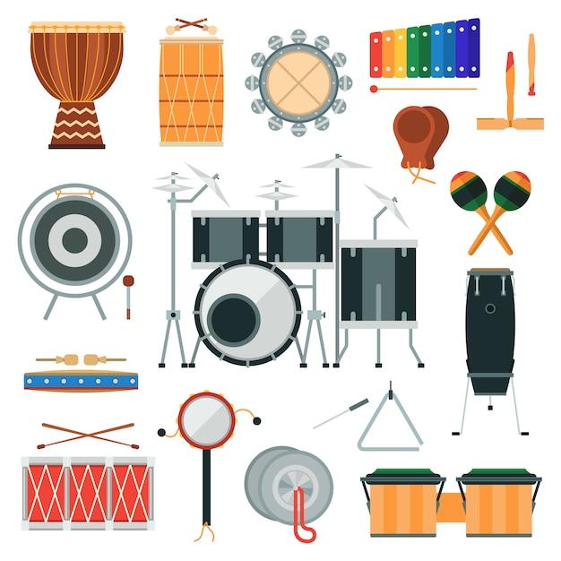 Instrumenty muzyczne instrumenty perkusyjne wektor w stylu płaski. Premium Wektorów