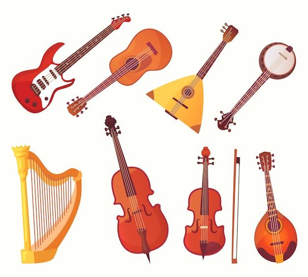 Instrumenty muzyczne z kreskówek. kolekcja instrumentów muzycznych gitar Premium Wektorów