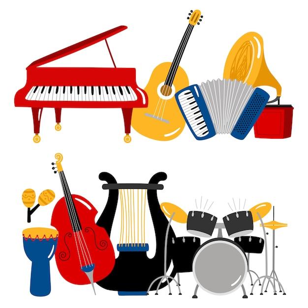 Instrumenty Muzyczne Z Kreskówek Premium Wektorów