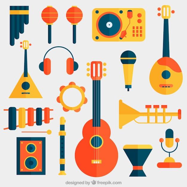 Instrumenty Muzyczne Zawarte W Płaskiej Konstrukcji Wektor Darmowe