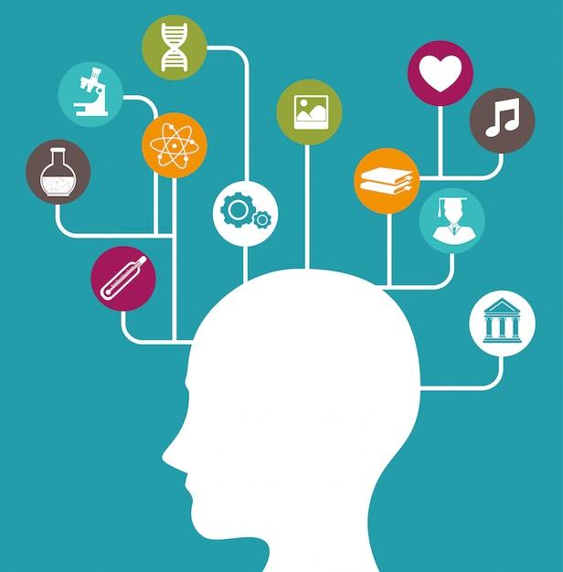 Inteligencja ludzkiego mózgu Premium Wektorów