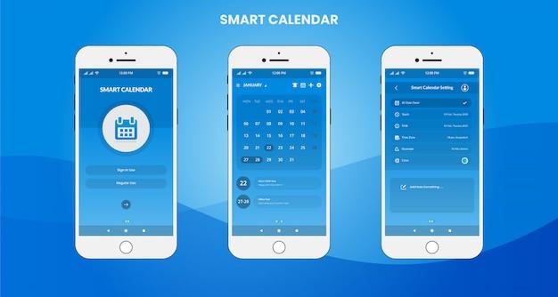 Inteligentna aplikacja kalendarza ui / ux design Premium Wektorów