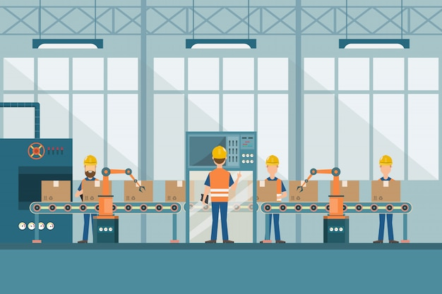 Inteligentna Fabryka Przemysłowa W Stylu Płaskiej Premium Wektorów