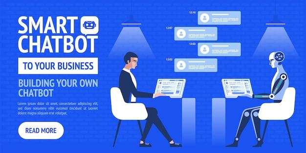 Inteligentna strona docelowa chatbota Premium Wektorów