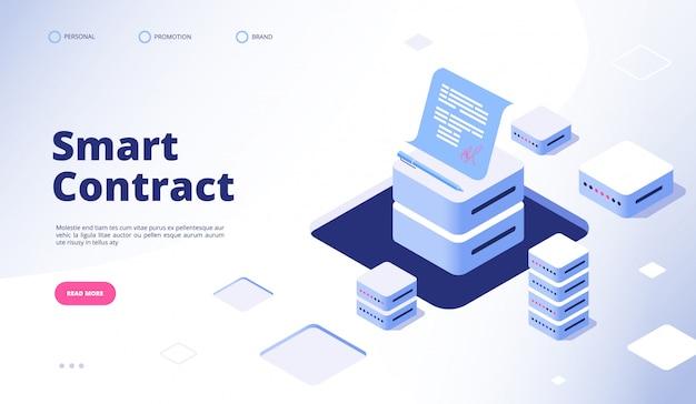 Inteligentna Umowa. Dokument Z Podpisem Cyfrowym Inteligentne Umowy Finansuje Stronę Docelową Umowy Kontrahenta Z Kryptografią Danych Premium Wektorów