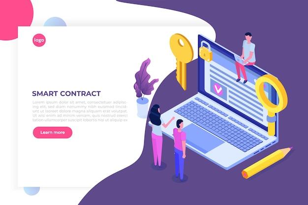 Inteligentna Umowa, Koncepcja Izometryczna Podpisu Cyfrowego. Technologia Blockchain. Premium Wektorów