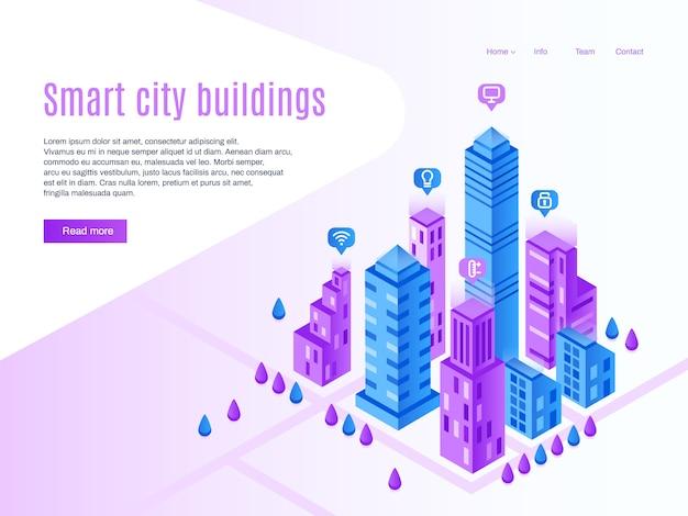 Inteligentne budynki miejskie. miejska strona docelowa, futurystyczny gród i inteligentne miasto izometryczny ilustracja Premium Wektorów