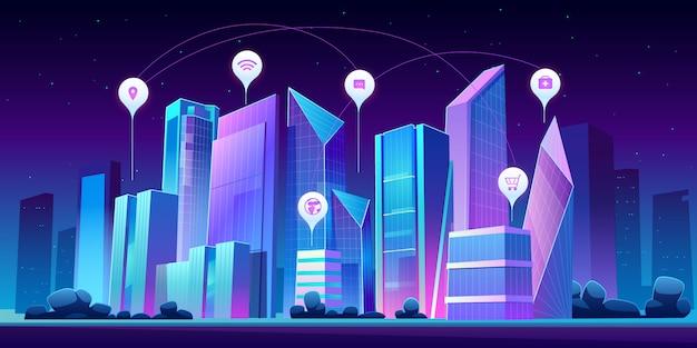 Inteligentne Miasto I Plansza Ikony W Nocy Darmowych Wektorów