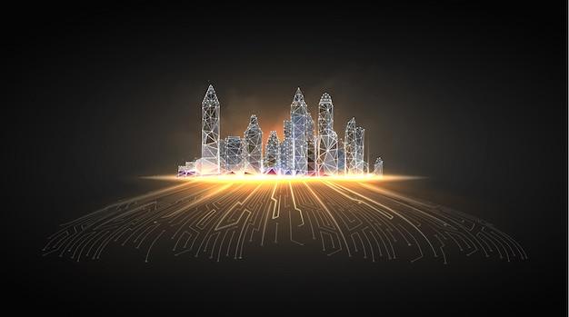 Inteligentne Miasto Lub Inteligentny Budynek. Premium Wektorów