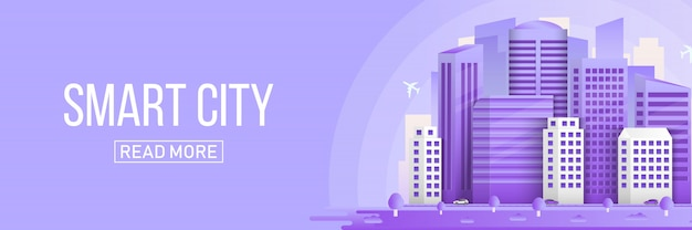 Inteligentne miasto miejski krajobraz budynków transparent tło. Premium Wektorów
