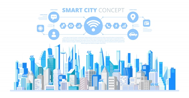 Inteligentne miasto z inteligentnymi usługami i ikonami Premium Wektorów
