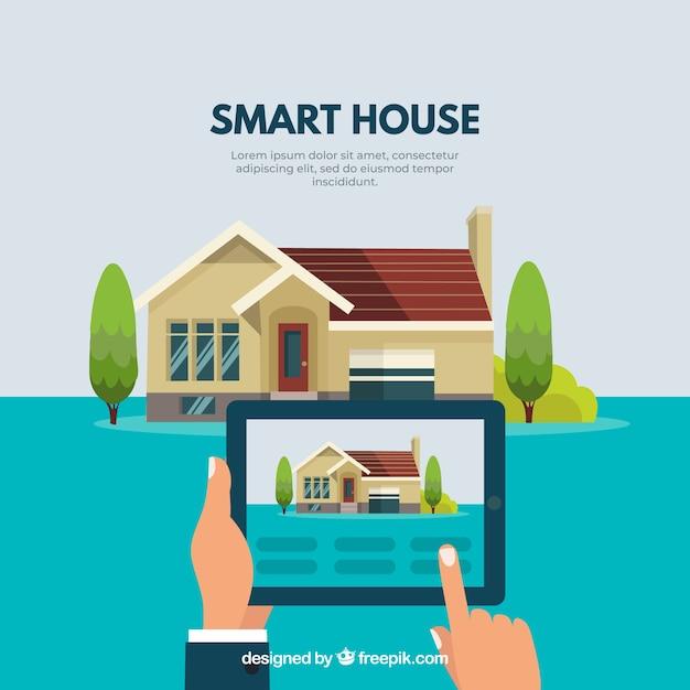Inteligentne Tło Domu Z Kontrolą Smartfona Darmowych Wektorów