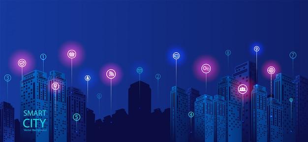 Inteligentne tło miasta Premium Wektorów