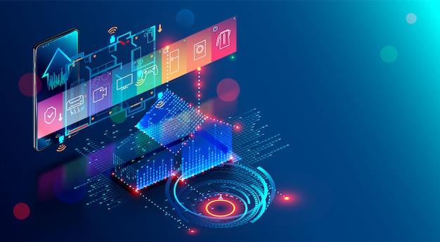 Inteligentny dom, aplikacja automatyzacji internetu przedmiotów intelektualnych Premium Wektorów