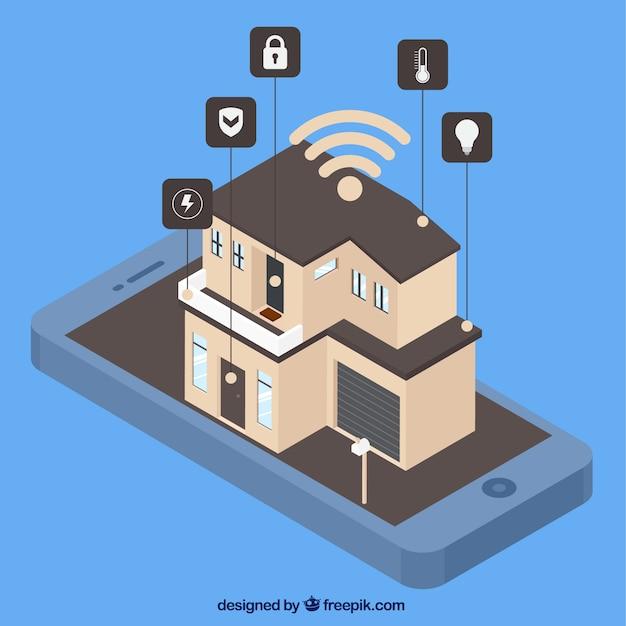 Inteligentny dom z kontrolą smartfona w stylu izometrycznym Darmowych Wektorów
