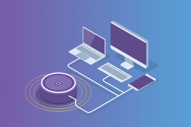 Inteligentny Głośnik Asystenta, Koncepcja Izometryczna Sterowania Głosowego. Ilustracja Premium Wektorów