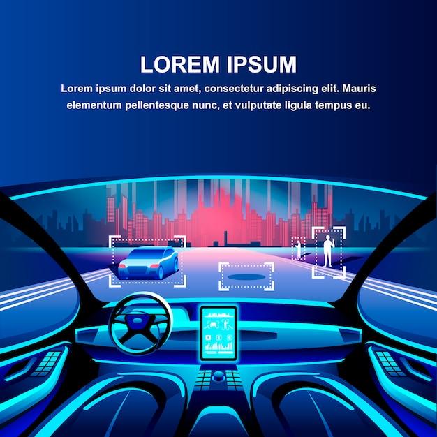 Inteligentny kokpit pojazdu Premium Wektorów