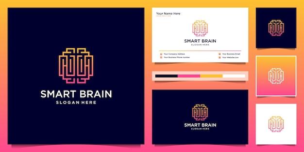 Inteligentny Mózg W Stylu Grafiki Liniowej. Szablon Projektu Logo Premium Wektorów