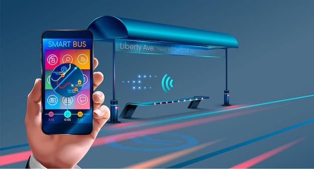 Inteligentny przystanek autobusowy, aplikacje mobilne na autobus Premium Wektorów