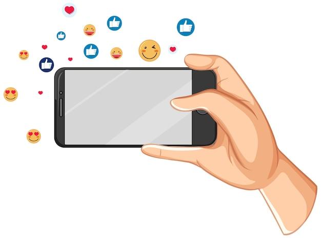 Inteligentny Telefon Z Motywem Ikony Mediów Społecznościowych Na Białym Tle Premium Wektorów