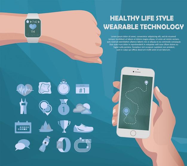 Inteligentny Zegarek I Fitness Na Smartfony Premium Wektorów