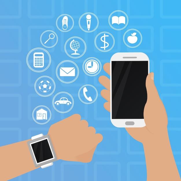 Inteligentny Zegarek Pod Ręką Z Ilustracją Telefonu Premium Wektorów