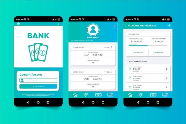 Interfejs Aplikacji Bankowej Darmowych Wektorów