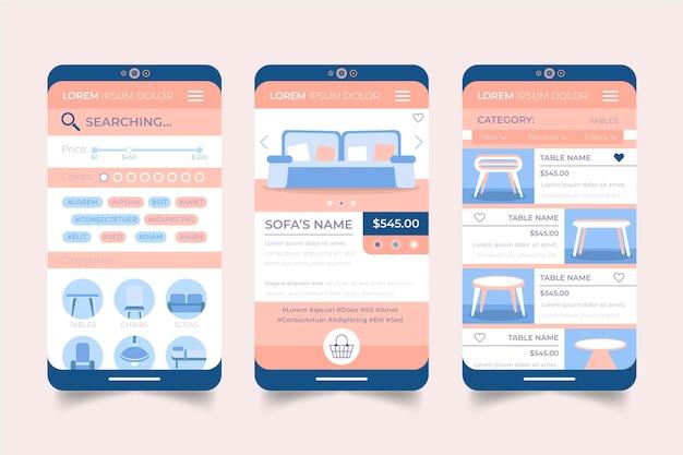 Interfejs Aplikacji Do Zakupów Mebli Darmowych Wektorów