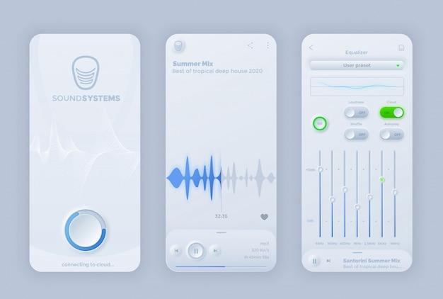 Interfejs Aplikacji Interfejsu Użytkownika Odtwarzacza Muzyki Z Interfejsem Neomorfoizmu Premium Wektorów
