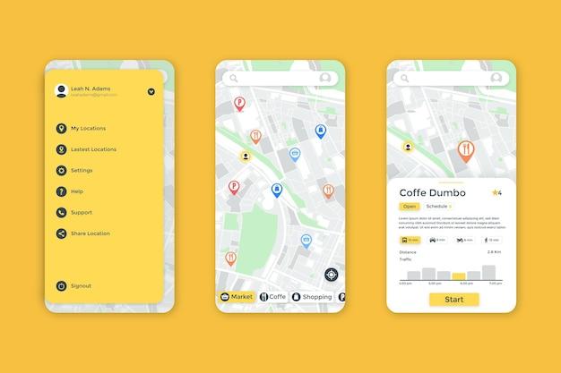 Interfejs Aplikacji Lokalizacji Premium Wektorów