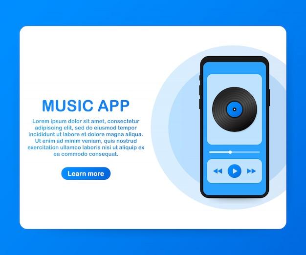 Interfejs aplikacji mobilnej. odtwarzacz muzyki. aplikacja muzyczna. ilustracja wektorowa. Premium Wektorów
