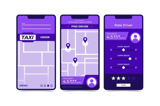 Interfejs Aplikacji Taxi Darmowych Wektorów