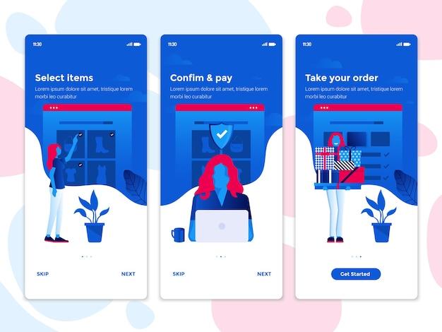 Interfejs Ekranu Aplikacji Mobilnej Premium Wektorów