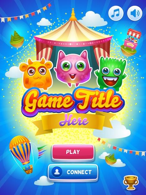 Interfejs gry główny ekran. Premium Wektorów