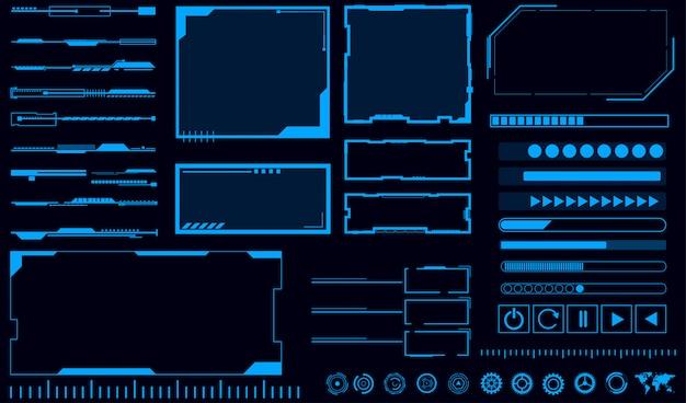 Interfejs hologram niebieskie tło Premium Wektorów
