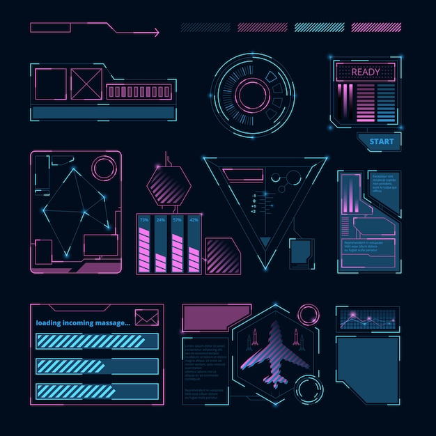 Interfejs hud, futurystyczne sci cyfrowe symbole i ramki dla różnych informacji Premium Wektorów